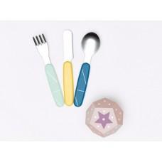 Babymoov Детски комплект прибори за хранене от неръждаема стомана Blue