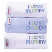 Minene Baby Muslins I Love Mummy/Daddy