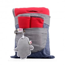 Minene Комплект облегалка с протектори от памучно трико червено