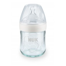 Nuk Nature Sense 120ml Glass Bottle Silicone Teat (0-6m)